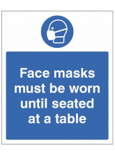 Face Masks must be Worn until Seated