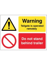 Warning Tailgate Is Operated Remotely Do Not Stand Behind Trailer