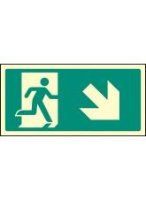 Intermediate Fire Exit Marker - Arrow Down Right
