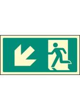 Intermediate Fire Exit Marker - Arrow Down Left