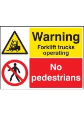 Warning Forklift Trucks Operating No Pedestrians