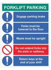 Forklift Parking Engage brakes - lower forks - return keys…