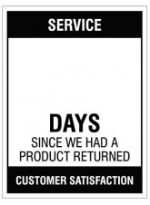 Service … Days since a product return - 450x600mm rigid PVC with wipe clean over laminate