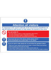 Coronavirus - Attention all visitors Desktop Sign