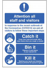 Coronavirus Floor Graphic - Catch it - Bin it - Kill it
