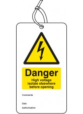 Danger High Voltage Isolate Elsewhere D / S Tag (Pack of 10)