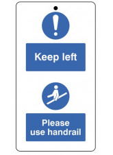 10 x Keep to the Left & Use the Handrail - Double Sided Safety Tags