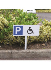 Parking Disabled Symbol - White Powder Coated Aluminium - 450 x 150mm (800mm Post)