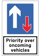 Priority Over Oncoming Traffic Reflective Fold Up Sign - 900 x 600mm
