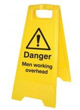 Danger Men Working Overhead - Self Standing Folding Sign