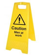 Caution Men At Work - Self Standing Folding Sign