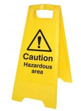 Caution Hazardous Area - Self Standing Folding Sign
