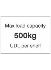Max load capacity 500kg UDL per shelf