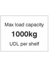 Max load capacity 1000kg UDL per shelf
