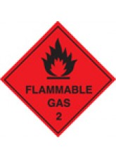 Roll of 100 Flammable Gas 2 Labels - Roll of 100 100mm