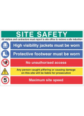 Site Safety Board - Hivis - Boots - Liable for Prosecution - 5mph