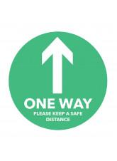 One Way Arrow - Green Floor Graphic (Circle)
